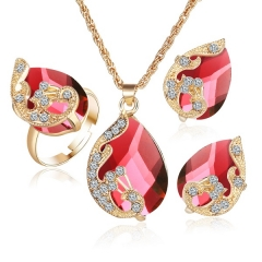 Fashion peacock jewelry set imitated crystal zircon  water drop pendant necklace earring ring set red as picture