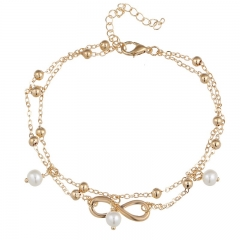Fashion elegant foot chain imitated pearl 8-character anklet hand beaded double layer foot chain gold as picture