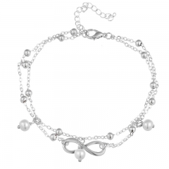 Fashion elegant foot chain imitated pearl 8-character anklet hand beaded double layer foot chain silver as picture