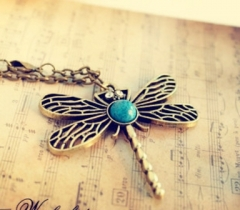 Elegant Retro Turquoise Dragonfly Necklace as picture one size
