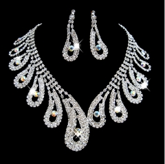 Fashion simple necklace earrings set trendy elegant jewelry sets silver one size