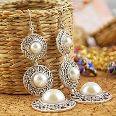 Three layers imitated pearl ring hat tassel earrings as picture one size