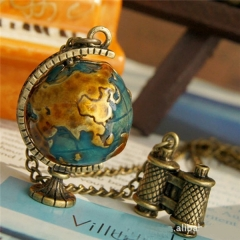 Fashion retro necklace simple elegant Globe pendant necklace as picture one size