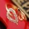 Fashion casual flash imitated diamond love ring gold one size