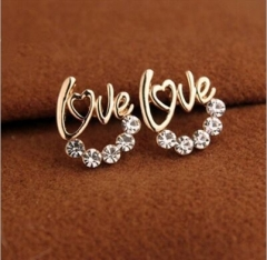 Fashion LOVE earrings imitated diamond earrings silver one size
