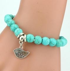 Vintage charm bracelet Bohemian turquoise bracelets sparrow one size