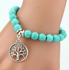 Vintage charm bracelet Bohemian turquoise bracelets tree one size