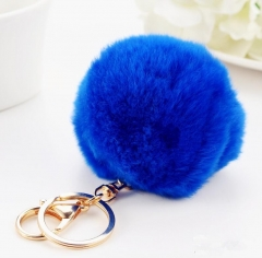 Keychain fluffy key chains keyrings trinkets Pompons blue one size