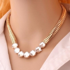Fashion punk metal rough chain necklace imitated diamond necklace gold one size