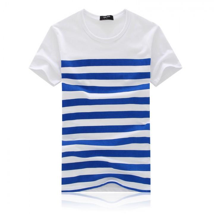 Men Summer Short Sleeve Stripe T-shirt Blue XXL