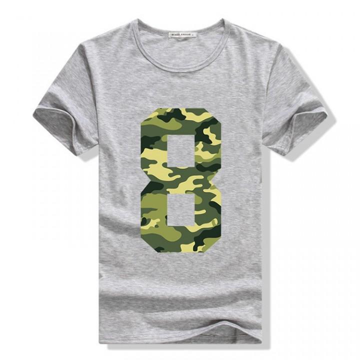 Men summer lucky eight printed short sleeve t-shirt shirt grey xl