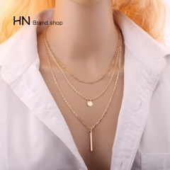 HN Brand-1Pcs/Set New Beautiful Plated Multi Layers Bar Coin Necklace Clavicle Chains Women Jewelry gold as picture
