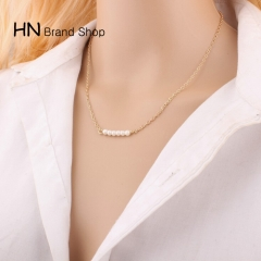 HN Brand-1Pcs/Set New Beautiful Hot A row of six pearl alloy necklaces For Women Jewelry Gift gold as picture