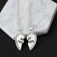 HN Brand-1 pair/Set New Beautiful Fashion best friends Heart Pendant pendant alloy Diamond necklace silver perimeter:46cm
