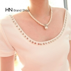HN Brand-1Pcs/Set New Beautiful Fashion Cross Diamond short necklace Pearl twist Necklaces white chain length:38cm