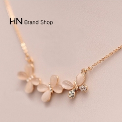 HN Brand-1Pcs/Set New Beautiful Fashion Opal butterfly short necklace For Women Jewellery Gift gold chain length:38cm
