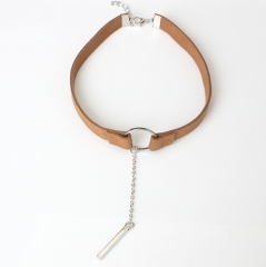 HN Brand-1Pcs/Set New Beautiful velvet A pendant necklace accessories For Women Jewellery Brown+Silver chain length:29cm