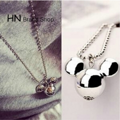 HN Brand-1Pcs/Set New Mickey decorated the sweater long necklace Pendant Women Jewellery Gift silver chain length:72cm