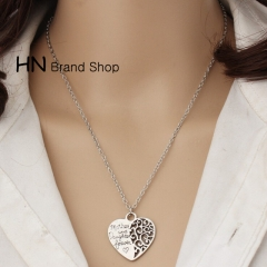 HN Brand-1Pcs/Set New Pierced heart mother and daughter necklace Pendant Women Jewellery Gift silver chain length:46cm