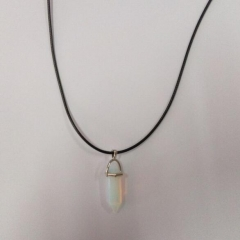 HN-1 Piece/Set New Natural stone Alloy Rope Jewelry Necklaces Pendant Women Jewellery Gift Milky white as picture