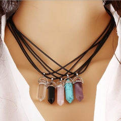 HN-1 Piece/Set New Natural stone Alloy Rope Jewelry Necklaces Pendant Women Jewellery Gift Pink as picture