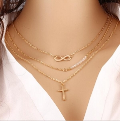 HN-1 Piece/Set New Multilayer cross Alloy Metal Necklaces Pendant Women And Men Jewellery Gift gold perimeter:54cm