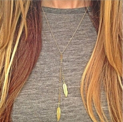HN-1 Piece/Set New Simple Leaf Alloy Jewelry Metal Necklaces Pendant Women And Men Jewellery Gift gold as picture