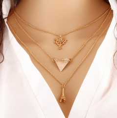HN-1 Piece/Set New Good luck Tower sapling Alloy Necklaces Pendant Women And Men Jewellery Gift gold perimeter:52cm