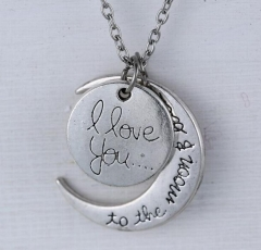 HN-1 Piece/Set New i love you to the moon and back Alloy Necklaces Pendant Women Men Jewellery Gift silver perimeter:46cm
