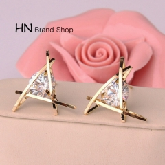 HN Brand-1 pair/Set New Beautiful Hot Exquisite triangular crystal Zircon Earrings Women Jewellery Gold 1.9cm*1.9cm