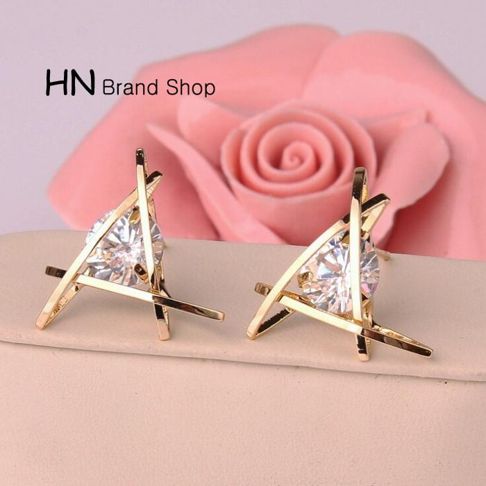 HN Brand-1 pair/Set New Beautiful Hot Exquisite triangular crystal Zircon Earrings Women Jewellery Gold 1.9cm*1.9cm