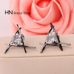 HN Brand-1 pair/Set New Beautiful Hot Exquisite triangular crystal Zircon Earrings Women Jewellery Black 1.9cm*1.9cm