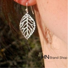 HN Brand-1 pair/Set New Beautiful Hot Metal Leaf Earrings Women Jewellery Gift gold 4.5cm*2.6cm