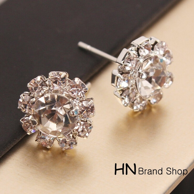HN Brand-1 pair/Set New Beautiful Hot Sparkling Rhinestone zircon Stud Earrings Women Jewellery Crystal 1.2cm*1.2cm