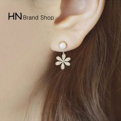 HN Brand-1 pair/Set New Beautiful Hot Pearl diamond five flower Metal stud earrings Women Jewellery gold 1cm*2.1cm