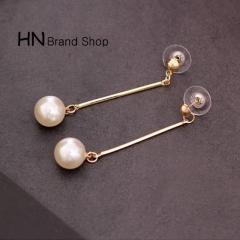 HN Brand-1 pair/Set New Beautiful Hot Gold tassel long pearl earrings stud earrings Women Jewellery White as picture