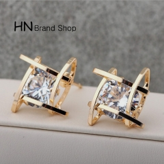 HN Brand-1 pair/Set New Beautiful Hot Zircon square stud earrings Women Jewellery gold 1.5cm*1.5cm