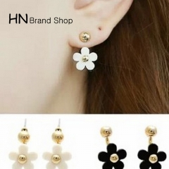 HN Brand-1 pair/Set New Beautiful Hot golden globe five petals rear hanging earrings Women Jewellery white 1.2cm*2cm
