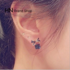 HN Brand-1 pair/Set New Beautiful Crystal diamonds drip lovely bows stud earrings Women Jewellery Blue 1.2cm*1.3cm