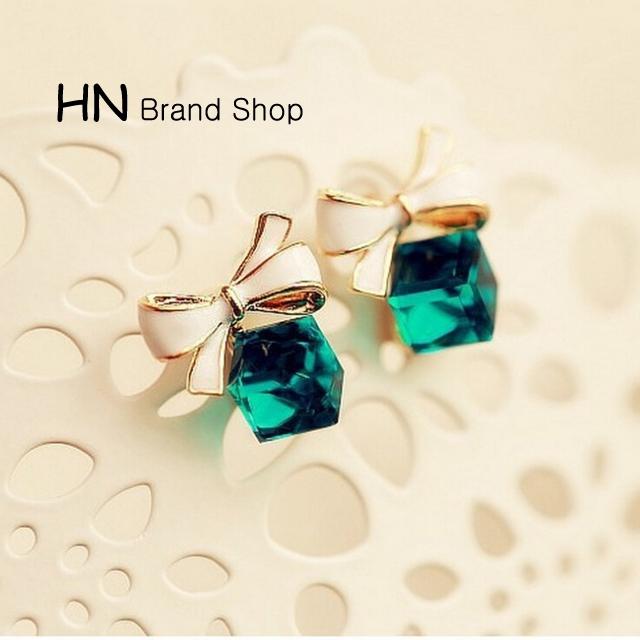 HN Brand-1 pair/Set New Beautiful Crystal diamonds drip lovely bows stud earrings Women Jewellery Green 1.2cm*1.3cm