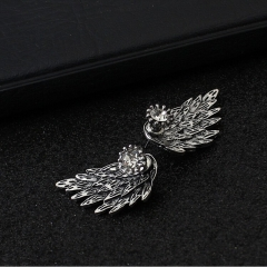 HN Brand-1 pair/Set New Beautiful Hot Angel wing Feather diamond alloy stud earrings Women Jewellery Antique Silver 1.5cm*3cm