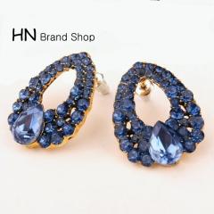 HN Brand-1 pair/Set New Beautiful Hot Gem diamond stud earrings Women Jewellery Gift blue 1.83cm*1.83cm