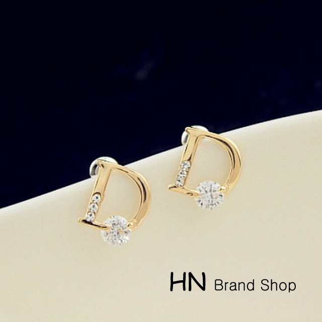 HN Brand-1 pair/Set New Beautiful Hot Diamond stone D words stud earrings For Women Jewellery Gift gold 1cm*1.15cm