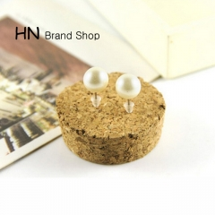 HN Brand-1 pair/Set New Beautiful Hot Simple pearl bean stud earrings For Women Jewellery Gift white as picture