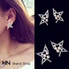 HN Brand-1 pair/Set New five corners of the stars hollow pearl diamond stud earrings Women Jewellery silver 1.3cm*2.3cm