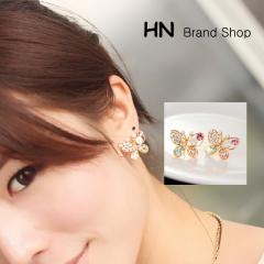 HN Brand-1 pair/Set New Hot Pearl diamond earrings pierced Butterfly stud earrings Women Jewellery gold 2.1cm*1.6cm