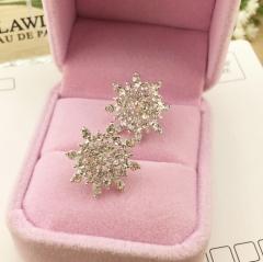 HN Brand-1 pair/Set New Beautiful Exquisite Rhinestone snow stud earrings For Women Jewellery Gift silver 1.9cm*1..9cm