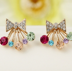 HN Brand-1 pair/Set New Beautiful Hot Diamond diamond color Pentagram bow crown Earrings Jewellery Butterfly 1.8cm*1.7cm