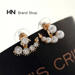 HN Brand-1 pair/Set New Diamond pearl earrings For Women Jewellery Gift gold 2.1cm*1.9cm