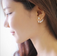 HN Brand-1 pair/Set New Diamond pearl earrings For Women Jewellery Gift silver 2.1cm*1.9cm